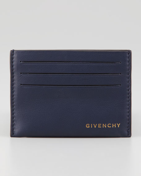 Leather Logo Card Case, Blue