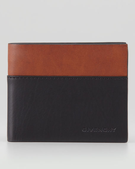 Colorblock Bi-Fold Wallet, Black/Brown