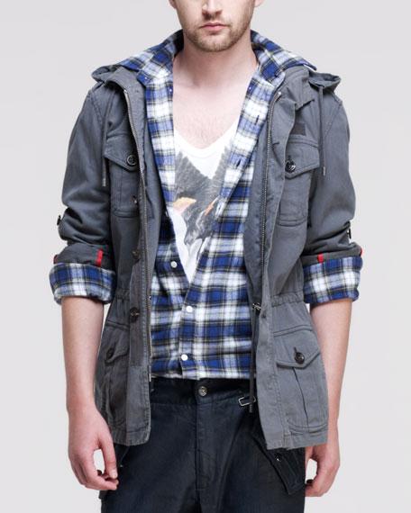 Broken Twill Military Jacket, Dark Gray