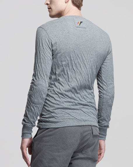 Double-Layer Jersey Long-Sleeve Tee, Gray