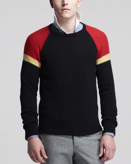 Cashmere Colorblock-Shoulder Sweater, Black