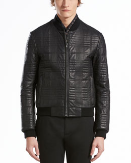 GUCCI Quilted Leather Bomber Jacket, Black