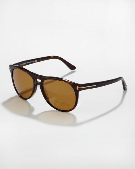 Callum Polarized Acetate Square Sunglasses, Dark Havana