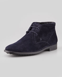 Tod's Suede Square Chukka, Navy