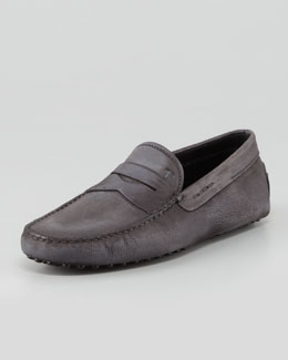 Tod's Suede Leather Driver, Gray