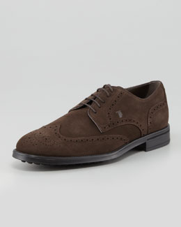 Tod's Lace-Up Suede Wing-Tip Derby, Brown