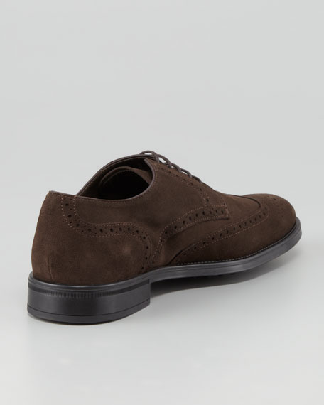 Lace-Up Suede Wing-Tip Derby, Brown