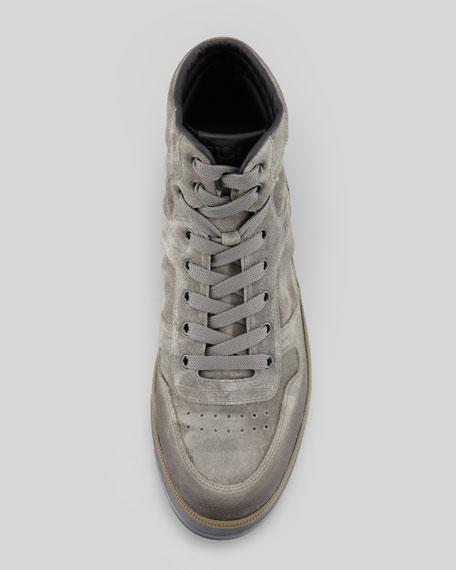 Suede High-Top Sneaker, Gray