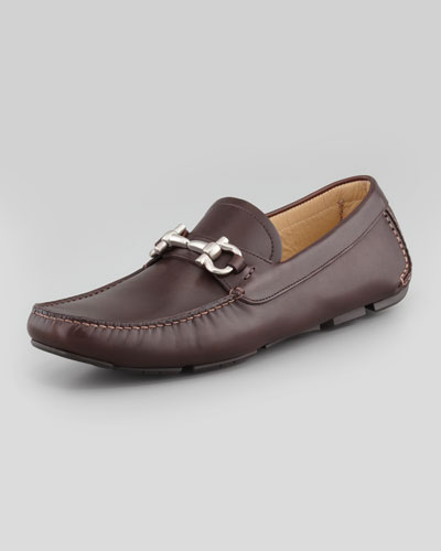 Parigi Leather Gancini Driver, Brown