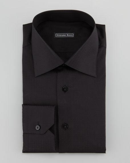 Textured Dot-Stripe Dress Shirt, Black
