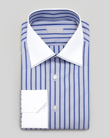 Stefano Ricci Contrast Collar Dash-Striped Dress Shirt, Blue