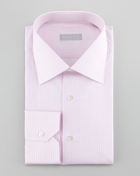 3-Row Striped Dress Shirt, Pink