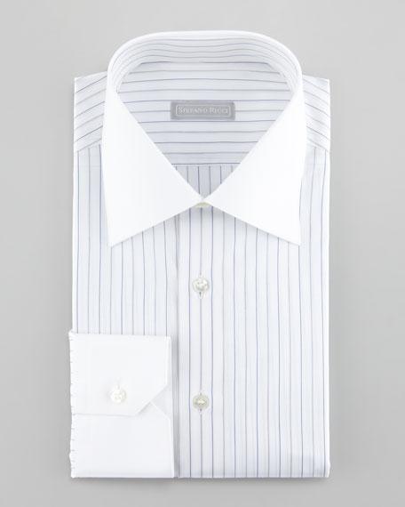 Stefano Ricci Contrast-Collar Striped Dress Shirt, Black/Blue