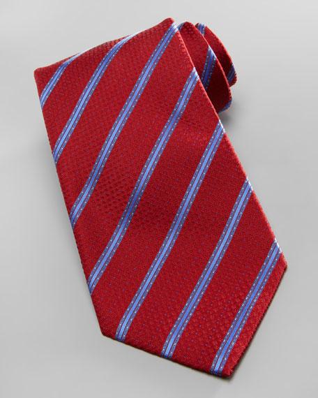 Dot-Stripe Silk Tie, Red/Blue