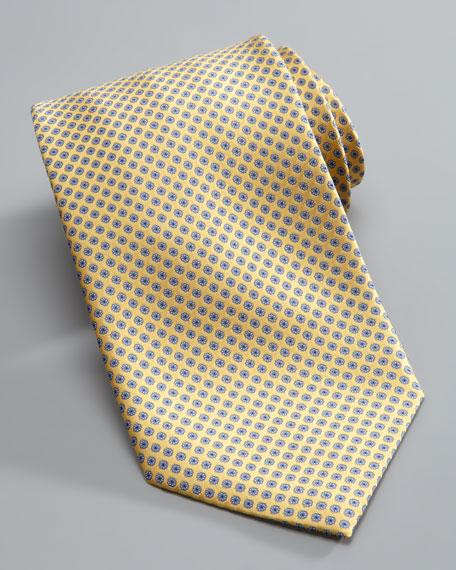 Micro-Medallion Silk Tie, Yellow