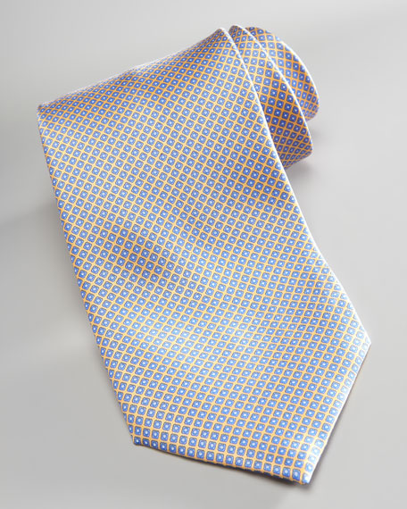 Micro-Square Neat Silk Tie, Yellow