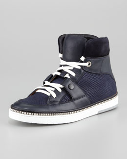 Jimmy Choo Viper-Print Leather High-Top Sneaker, Navy