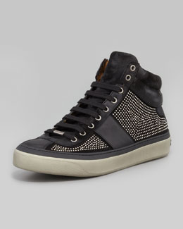 Jimmy Choo Belgravia Mini-Studded High-Top Sneaker