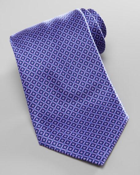 Micro-Square Neat Silk Tie, Purple
