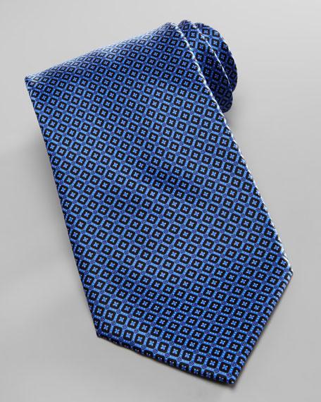Micro-Square Neat Silk Tie, Navy
