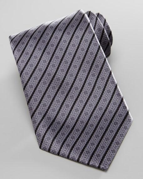 Square-Medallion Stripe Silk Tie, Gray