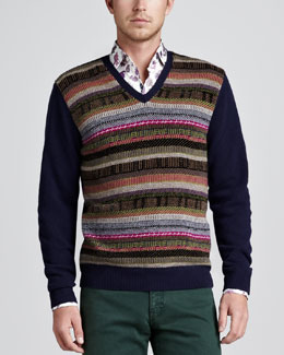 Etro Aztec Striped V-Neck Sweater