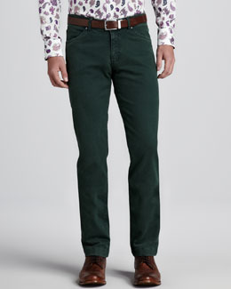 Etro Dyed Denim Jeans, Green