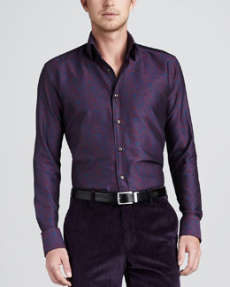 Etro Paisley Sport Shirt, Purple