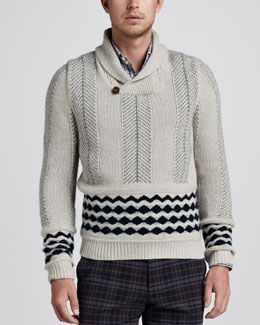 Etro Shawl Collar Mix-Knit Sweater