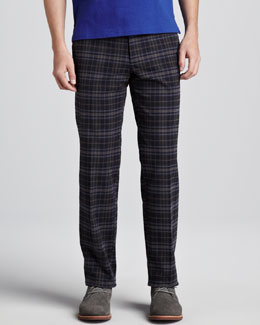 Etro Plaid Pants, Blue/Gray