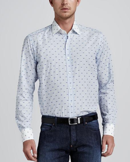 Bow-Tie-Print Sport Shirt