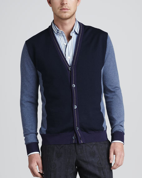 Colorblock V-Neck Cardigan