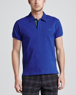 Etro Paisley-Facing Polo, Royal Blue