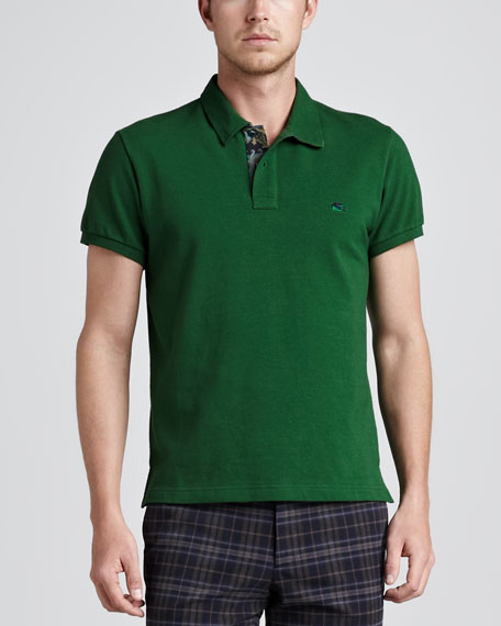 Paisley-Facing Polo, Green