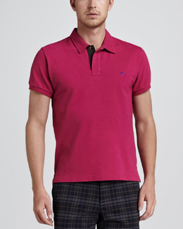 Etro Paisley-Facing Polo, Pink