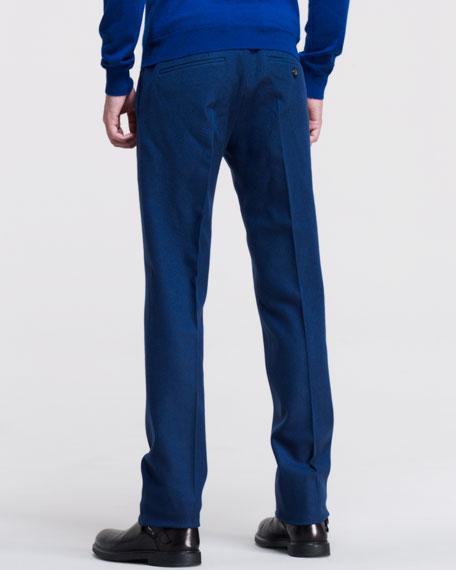 Wool Tweed Trousers, Blue