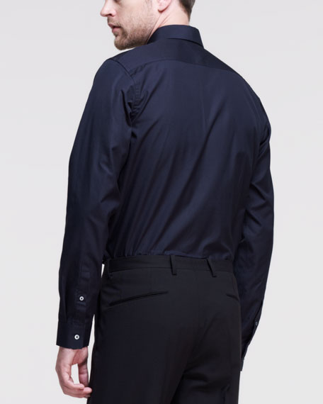 Baia Long-Sleeve Sport Shirt, Navy