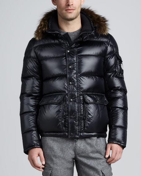 Hubert Fur Trim Hood Jacket, Navy