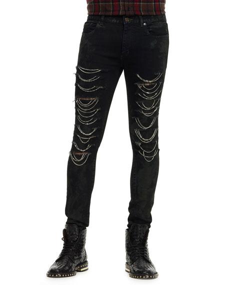 6bdc9927 Saint Laurent Ripped Chain-Trim Jeans