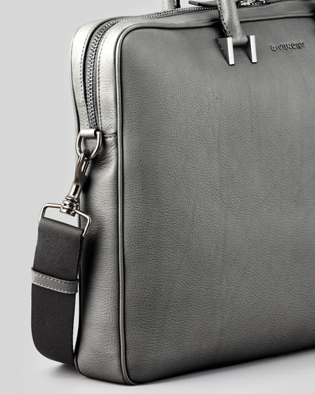 Classic Leather Briefcase, Gray