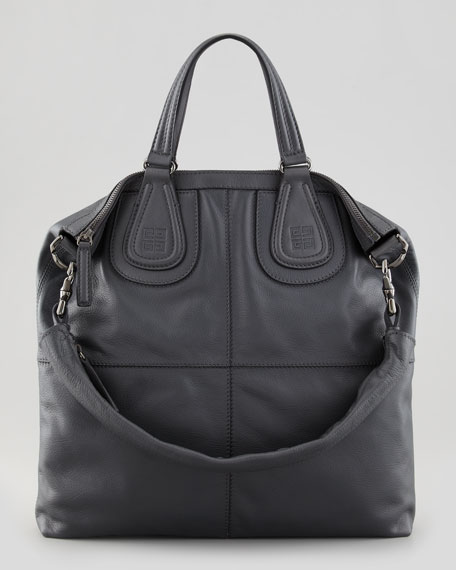 Nightingale Biker Leather Shopper Tote Bag, Gray