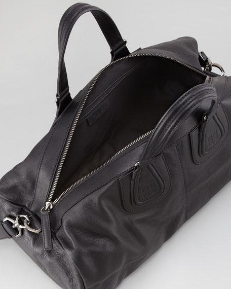 Large Men's Leather Gym Bag, Black