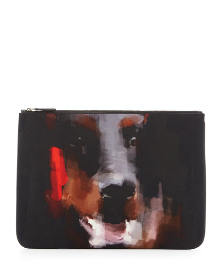 Men's Doberman Canvas Zip Pouch, Black