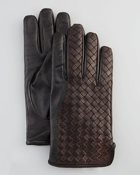 Men's Woven Leather Gloves, Dark Brown