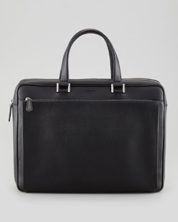Fendi Saffiano Zip-Pocket Briefcase, Black