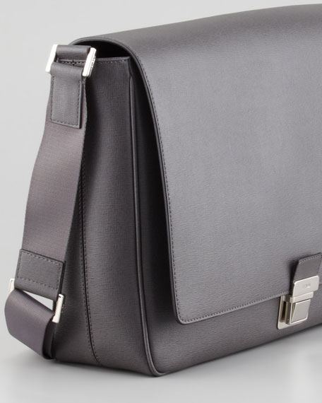 Saffiano Leather Messenger Bag, Gray