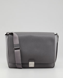 Fendi Saffiano Leather Messenger Bag, Gray
