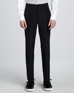 Lanvin Nylon Pants with Exaggerated Waistband, Black