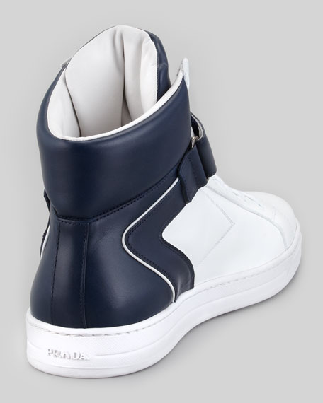 Avenue Bicolor Leather High-Top Sneaker, White/Blue