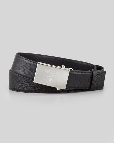 Saffiano Logo-Buckle Belt, Black